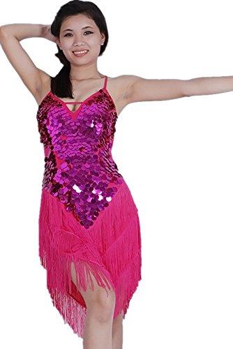 KINDOYO Gama alta Traje de Baile de Mujeres Borla Sin Respaldo Sin Mangas Club de Noche Traje de Baile Latino Competencia Disfraz Disfraz Traje Rosa Roja