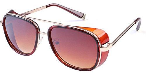de Steampunk Unisexe lunette BOZEVON et Lunettes marron miroir femmes Lunettes Cru de pour soleil hommes Marron qx8zYU