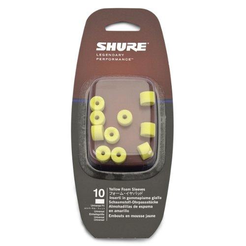Shure E5c Earphones (Shure EAYLF1-10 Universal Fit Yellow Foam Sleeves, 5 Pair)