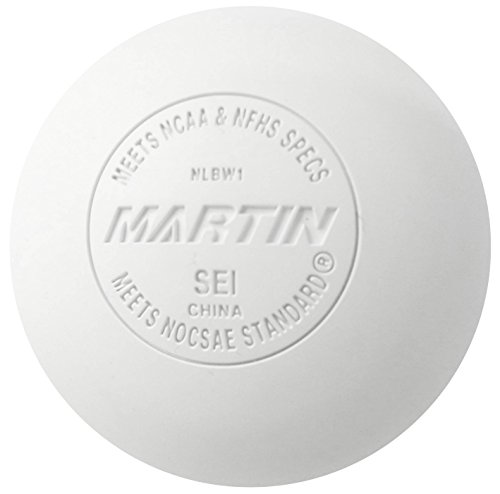 Martin Sports Lacrosse Balls, Meets NOCSAE and NHFS Standards, SEI Certified, White, Pack of 12 - Meets Nocsae Standard