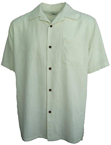 Good-Life-Mens-Silk-Camp-Shirt-Ivory-Floral-Casual-Hawaiian