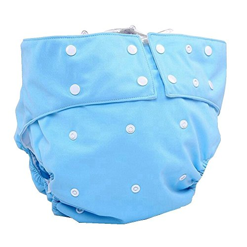 LukLoy Men's Adults Cloth Diapers for Incontinence Care Protective Underwear -Dual Opening Pocket Washable Adjustable Reusable Leakfree (Sky Blue)
