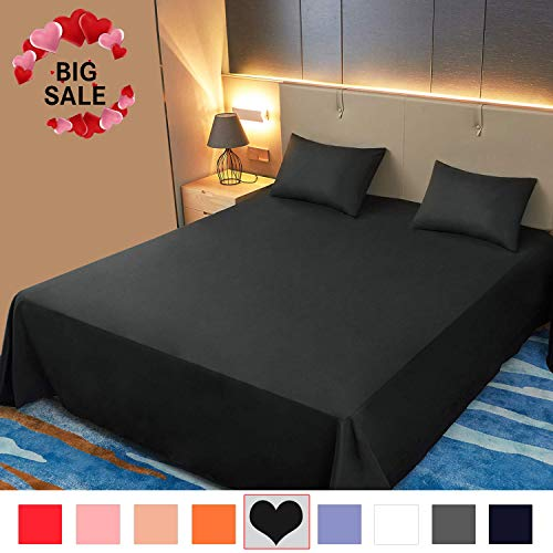 Allo Flat Sheet, Ultra Soft Breathable, Wrinkle Resistant, Hypoallergenic, No Fade, 1500 Thread Count Brushed Microfiber Flat Bed Sheet, 1- Piece (Black, King)