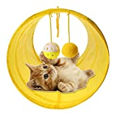 Sikye Kitten Tunnel Toy,Nylon Collapsible Pet Play Tunnel Tube Toy for Cats, Puppy, Kitty, Rabbit (Yellow)