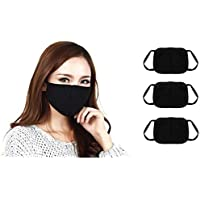 Vastra Lok -Anti Pollution Protecting Half Face (Nose + Mouth) Black Color Mask for Boy's I Girls, Men I Women Walking/Cycling/Bike Riding/Scooter Riding/House Keeping/Playing Sport -Pack of 3