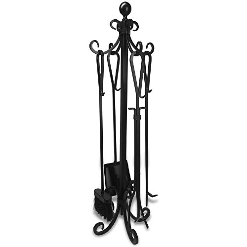 5 Pieces Scroll Fireplace Tools Set Black Cast Iron Fire Place Toolset with Log Holder Fireset Fire Pit Stand Rustic Tongs Shovel Antique Broom Chimney Poker Wood Stove Hearth Accessories Set (Fire Place Poker Set)