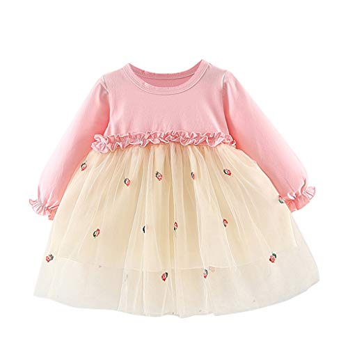 (VEFSU Toddler Kids Baby Girls Embroideried Floral Tulle Patchwork Tutu Princess Dress Lovely Clothes)