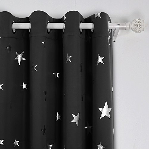 Deconovo Solid Thermal Insulated Blackout Curtains for Nursery with Silver Star Pattern 52 by 84 Inch Black 1 Pair