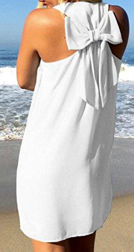 Dress Neck Bowknot White Back Round Sleeveless Solid Chiffon Cruiize Womens qWztRcZn8