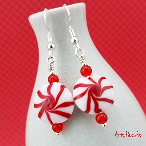 Holiday Winter Red and White Lampwork Glass Peppermint Candy Dangle Earrings by ArtsParadis