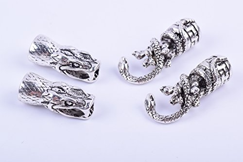 Snake Clasp - KONMAY 5 sets Antique Silver Dia. 9.0mm Snake Head Hook Clasp