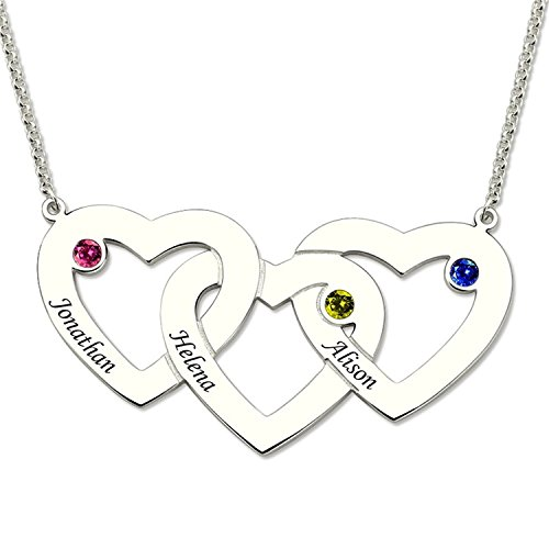 Personalized Three Hearts Birthstones Necklace In Silver Heart Pendant with Birthstone Mother's Necklacee Gift Gold (His N Hers Costumes)