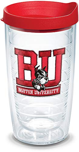 (Tervis 1060831 Boston University Terriers Logo Tumbler with Emblem and Red Lid 16oz, Clear)