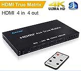 AVENK 4x4 HDMI True Matrix Switcher 4K HDMI Switch with IR Remote Control Support Ultra HD HDMI 1.4 4Kx2K 1080P