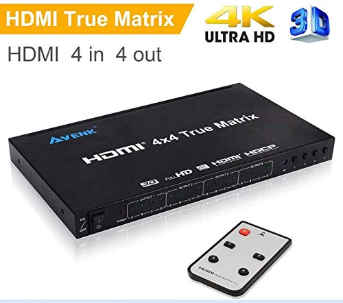 AVENK 4x4 HDMI True Matrix Switcher 4K HDMI Switch with IR Remote Control Support Ultra HD HDMI 1.4 4Kx2K 1080P -