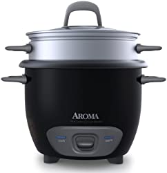 Aroma Housewares 6-Cup (Cooked) (3-Cup UNCOOKED) Pot Style Rice Cooker and Food Steamer (ARC-743-1NGB)