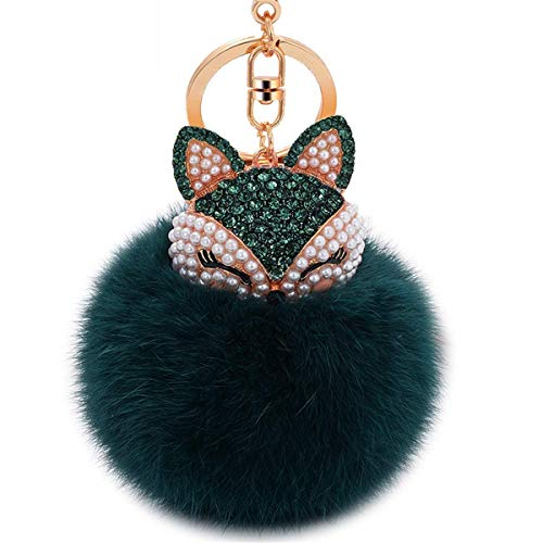 (Faux Rabbit Fur Ball Pom Pom Keychain with A Fashion Alloy Fox Head Studded with Synthetic Diamonds(Rhinestone) for Womens Bag Cellphone Car Charm Pendant Decoration (Dark Green))