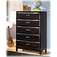 Kira B473-46 36 5-Drawer Chest with Felt Lined Top Drawer Age Bronze Toned Handles and Sculpted Overlay Drawer Fronts in an Almost Black Color