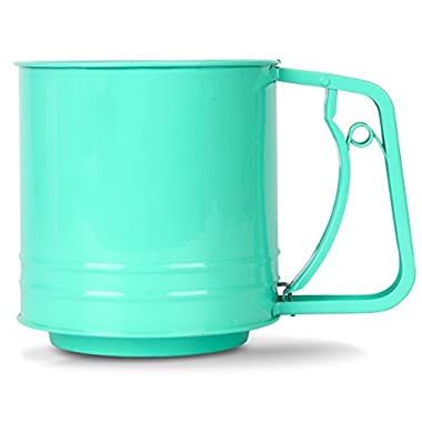 Flour Sifter, MCIRCO Sifter for Baking Baking Supplies One-Handed Super Cute Kitchen Flour Sieve Small Sifter for Coco Powder and Other Ingredients 3 Cup(Green Large)