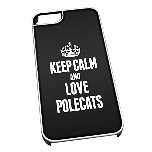 Bianco per iPhone 5/5S 2468Nero Keep Calm And Love polecats