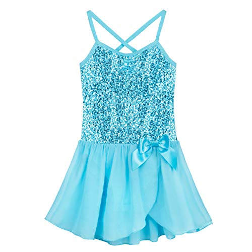 FEESHOW Girls Sequined Camisole Ballet Dress Leotard Chiffon Skirt Sparkly Fairy Dance wear Costumes Blue 7-8