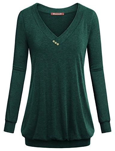 Womens Pullover Sweatshirt, BlevonH Ladies V Neck Shirt Long Sleeve Tunic Loose Fit Casual Shirred Top Cotton Button Front Tshirt Fashion Blouse for Work with Banded Bottom Green - Tunic Cotton Shirred