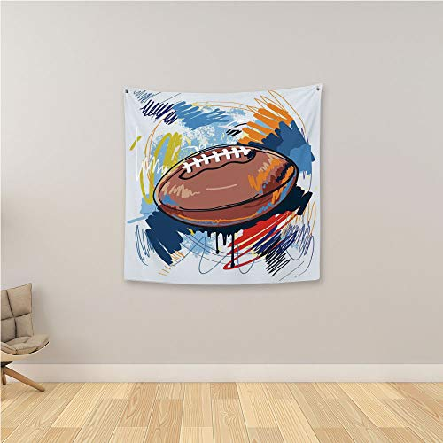 YOLIYANA Sports 3D Printing Tapestry,Diamond Shape Rugby Ball Sketch with Colorful Doodles Professional Equipment League Wall Hanging Tapestry for Bedroom Living Room,47.2
