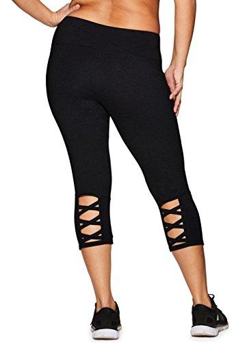 RBX Active Women's Plus Size Cotton Spandex Workout Leggings Black Basic 3X