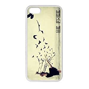 DIY Design Cute Be Free Birds Quote Pattern-Protective Cover Case for iPhone 5/5S (Laser Technology)case Perfect as Christmas
