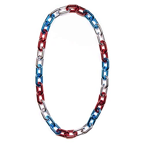 Windy City Novelties Patriot 4th of July Jumbo Chain Necklace Party Favors (Red/Silver/Blue) - USA Party Favors]()
