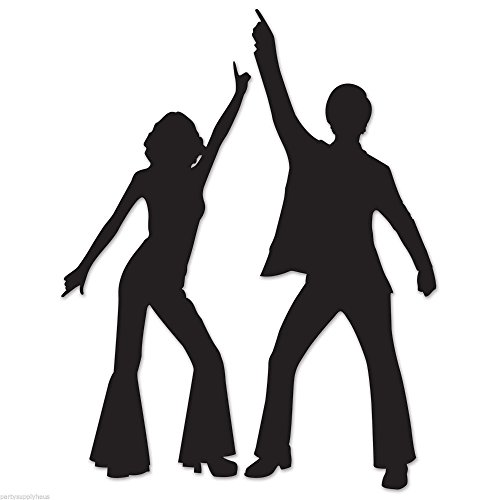 (Funky 70's DISCO Dancing Couple SILHOUETTES Party Wall Decorations STUDIO 54)
