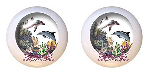 SET OF 2 KNOBS - Dolphin in Globe - Dolphins - DECORATIVE Glossy CERAMIC Cupboard Cabinet PULLS Dresser Drawer KNOBS