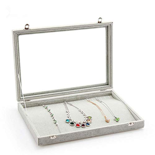 (Stylifing Glass Top Velvet 20 Hooks Jewelry Tray for Necklaces Jewelry Case Stackable Showcase Display Storage Box Lockable for Women Girls)