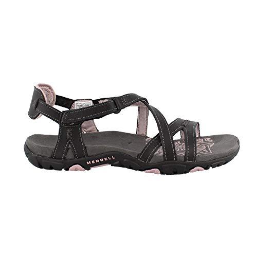 Merrell Women's Sandspur Rose Leather Black/Lilac Keepsake 8 M - Sole Merrell Rubber Sandals