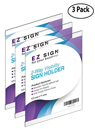 (EZ Wall Mount Sign Holder 8.5 x 11, Double Sided,Reusable & Washable Tape; Plastic & Clear, Horizontal & Vertical Paper, Document, Menu,Office Poster Holders, Ad & Flyer Display (3))