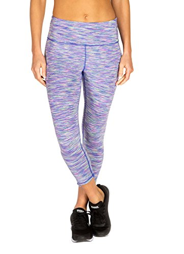 RBX Active Women's Multicolor Space-Dye Leggings Blissful Blue/Orchid L (Mustache Spandex Sheer Pantyhose)