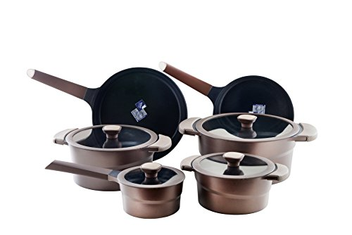 DANIALLI 10-Piece Aluminum Nonstick Cookware Set, Metal Utensil Safe, Non Stick Cookware with Teflon Platinum Plus Coating Technology,  Removable Silicone Handles, Induction Cookware, Chocolate Model