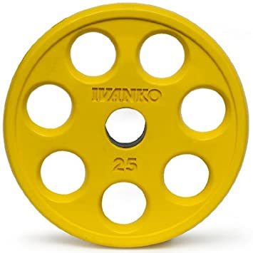 Ivanko Colored Rubber Encased EZ-Lift Yellow Olympic Plates With Holes – 25 lb pair for use on Olympic bars