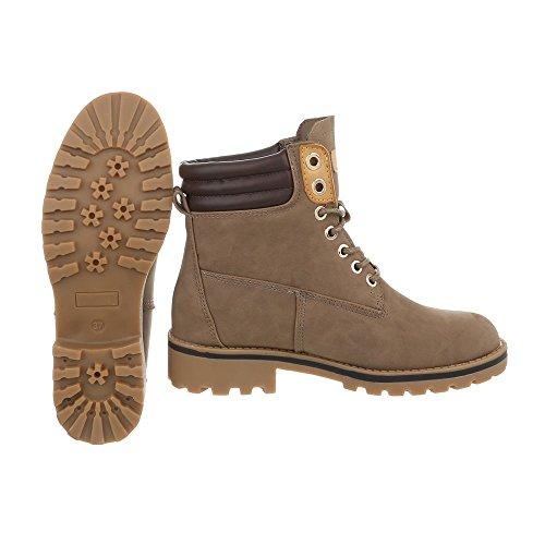 Schuhcity24 Damen Schuhe Stiefeletten Schnür Boots Hellbraun