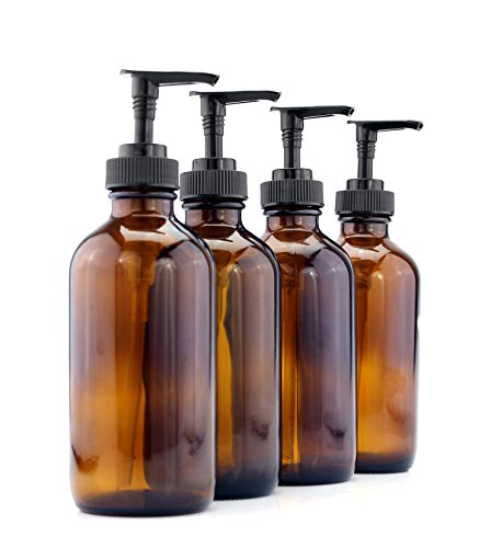 Round Soap Pump - Cornucopia Brands 8-Ounce Amber Glass Pump Bottles (4-Pack); Empty Boston Round Bottles w/Black Plastic Lotion Pumps