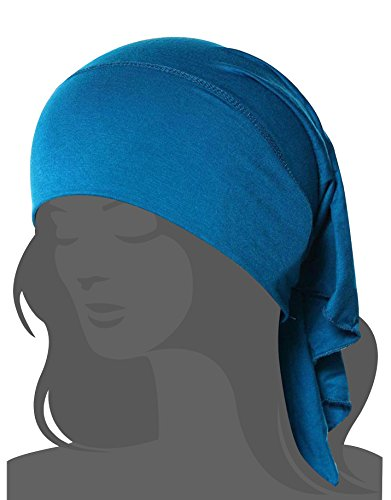 Women's Chemo Cap with Removable Bow,Blue,One (Removable Bow)