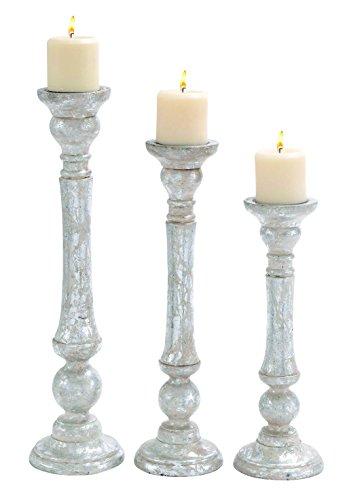 Benzara 14430 Carved Detailing Wooden Candle Holder, Set ...