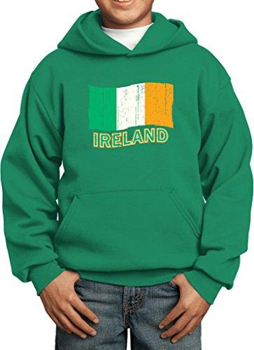 Kids Distressed Ireland Flag Youth Hoodie, Kelly Green, Medium
