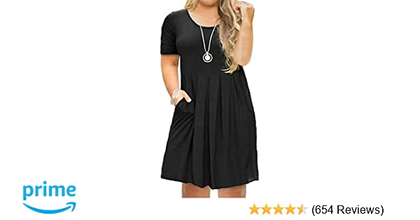 Tralilbee Women\'s Plus Size Short Sleeve Dress Casual Pleated Swing Dresses  with Pockets