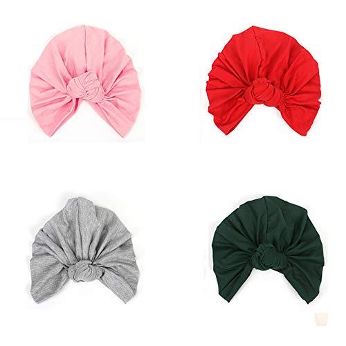 Sainfee 4PCS Knotted Turban Hat for Women Bohemian Braided Turban Headwear Hat Head Wrap Cap