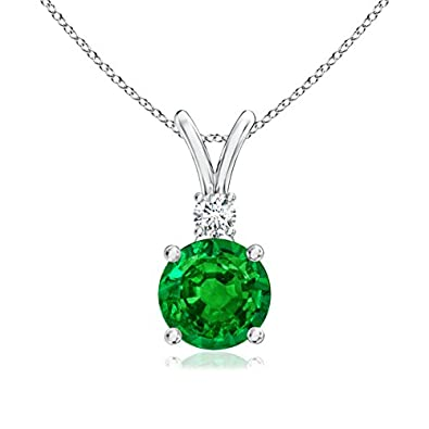 Angara Natural Emerald Knot Necklace for Women in Platinum STAtPOoLO