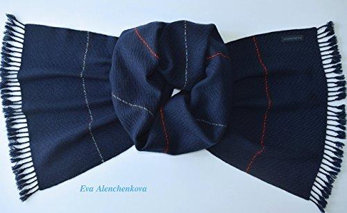 Blue Men's Cashmere Silk Merino Wool Hand Woven Scarf by Eva Alenchenkova