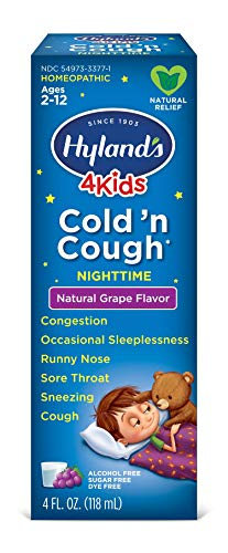 Kids Nighttime Cold and Cough Syrup by Hyland's 4Kids, Cold 'n Cough, Grape Flavored, Natural Relief of Common Cold Symptoms, 4 Ounces (Packaging May Vary)