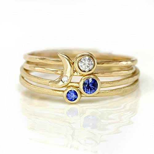 Crescent moon sapphire and diamond ring set for Sapphire studios jewelry reviews