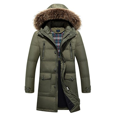 YANXH Winter Thicker Down jacket Male In the long Section Hooded coat , army green , l by YANXH outdoors